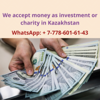 We accept money as investment or charity in Kazakhstan